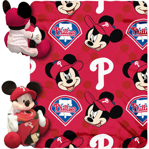 "Disney MLB Pitch Crazy Hugger Pillow and 40"" x 50"" Throw Set, Philadelphia Phillies"
