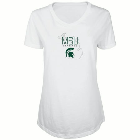 Michigan V-neck (Women's Russell White Michigan State Spartans Tunic Metallic Cap Sleeve V-Neck)