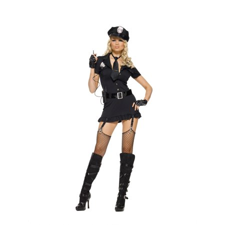 Leg Avenue Women's 6 Piece Dirty Cop Costume, Black, X-Large