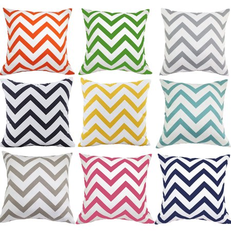 Meigar Ripple Chevron Zig Zag Wave Throw Pillow Cushion Cover Linen Cotton Square Shaped Standard Decorative Pillowslip Pillowcase Protector Case for Sofa Couch Chair Car (Ripple Wave Board)