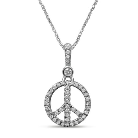 10K White Gold 1/5 Cttw Diamond Peace Fashion Pendant Necklace