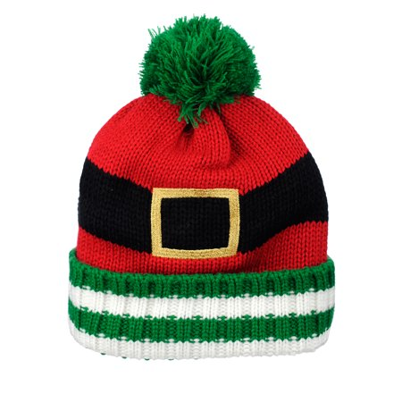 D&Y Christmas Holiday Theme Winter Warm Knit Pom Beanie Hat, Santa's Belt, Green (Winter Themed Prom)