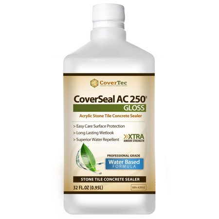 Surface Tile Sealer - CoverSeal AC250 Gloss Clear Wet Look Sealer for Ceramic, Porcelain & Stone Tile Surfaces (1 Qrt - Prof Grade)