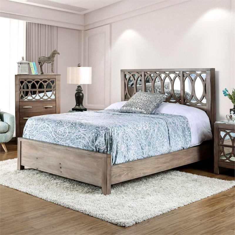 Furniture of America Elyssa King Mirroed Panel Bed in Rustic Natural Tone