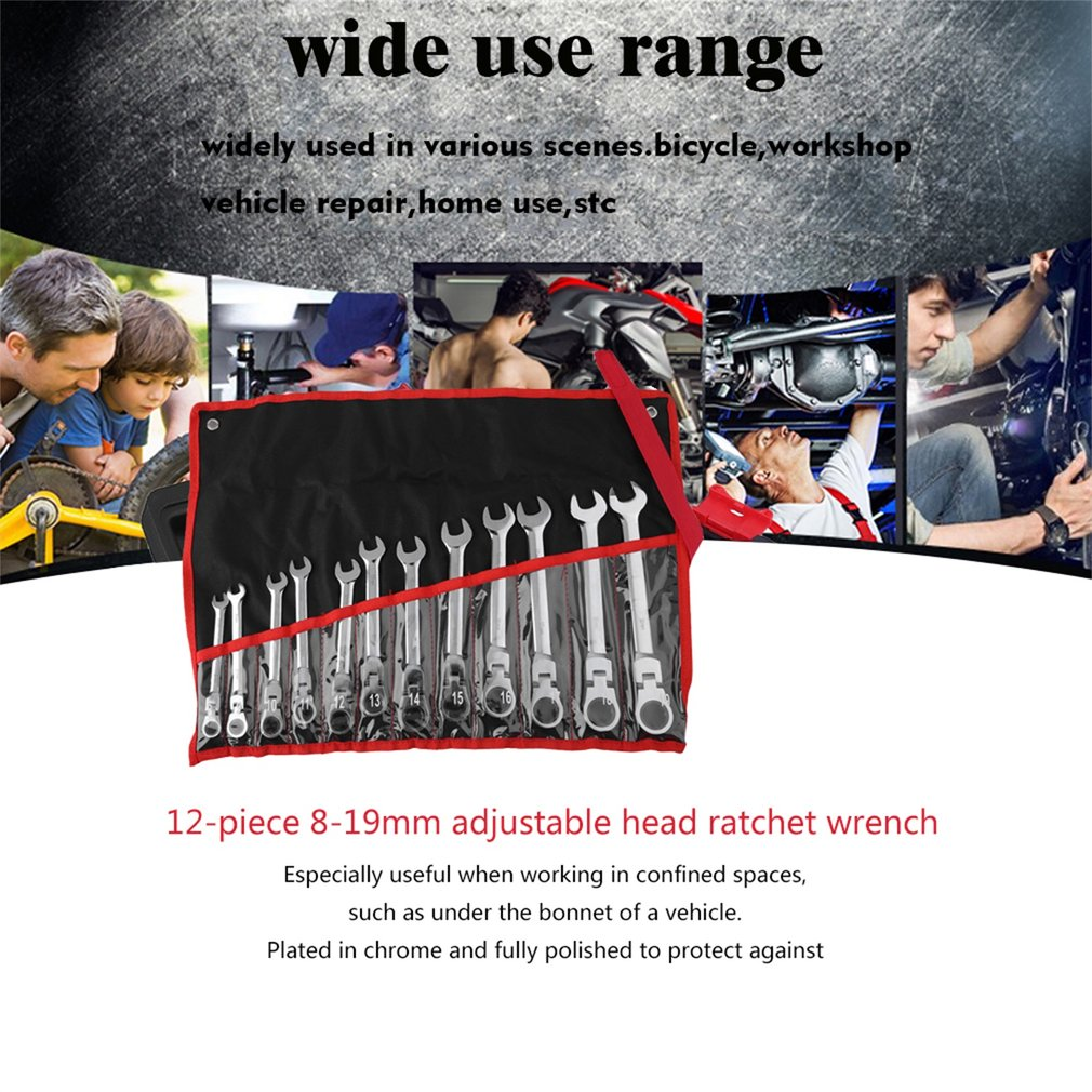 12 Pcs 8-19mm Metric Flexible Head Ratcheting Wrench Combination Wrench Set