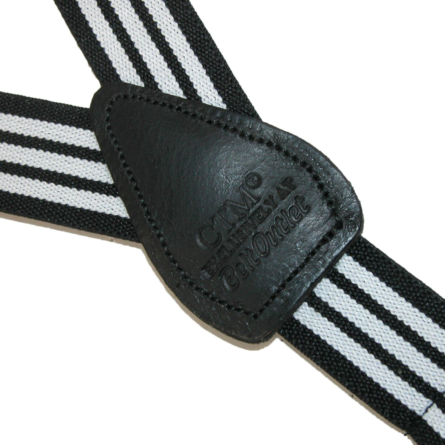 CTM Infants' Elastic Leather Button End Pin Stripe Suspenders - image 1 de 3