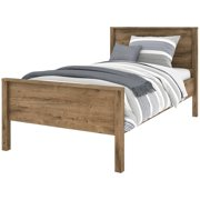 Bestar Capella Twin Panel Platform Bed in Rustic Brown
