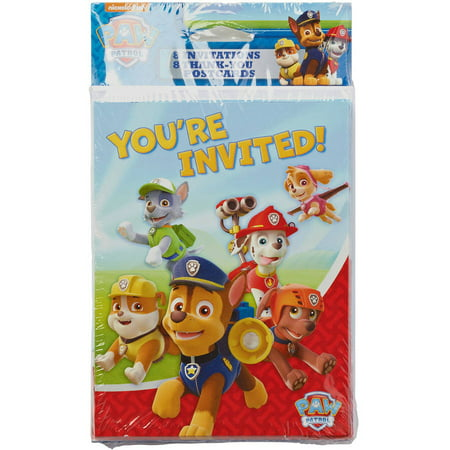 PAW Patrol Invite and Thank-You Combo Pack, 8 Count, Party Supplies