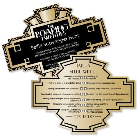 Roaring 20's - Selfie Scavenger Hunt - 1920s Art Deco Jazz Party Game - Set of 12 - 1920s Themed Halloween Party