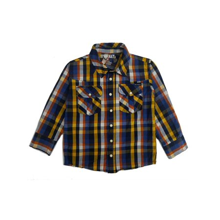 Sprockets Baby Boys Blue Plaid Casual Western Long Sleeve Shirt