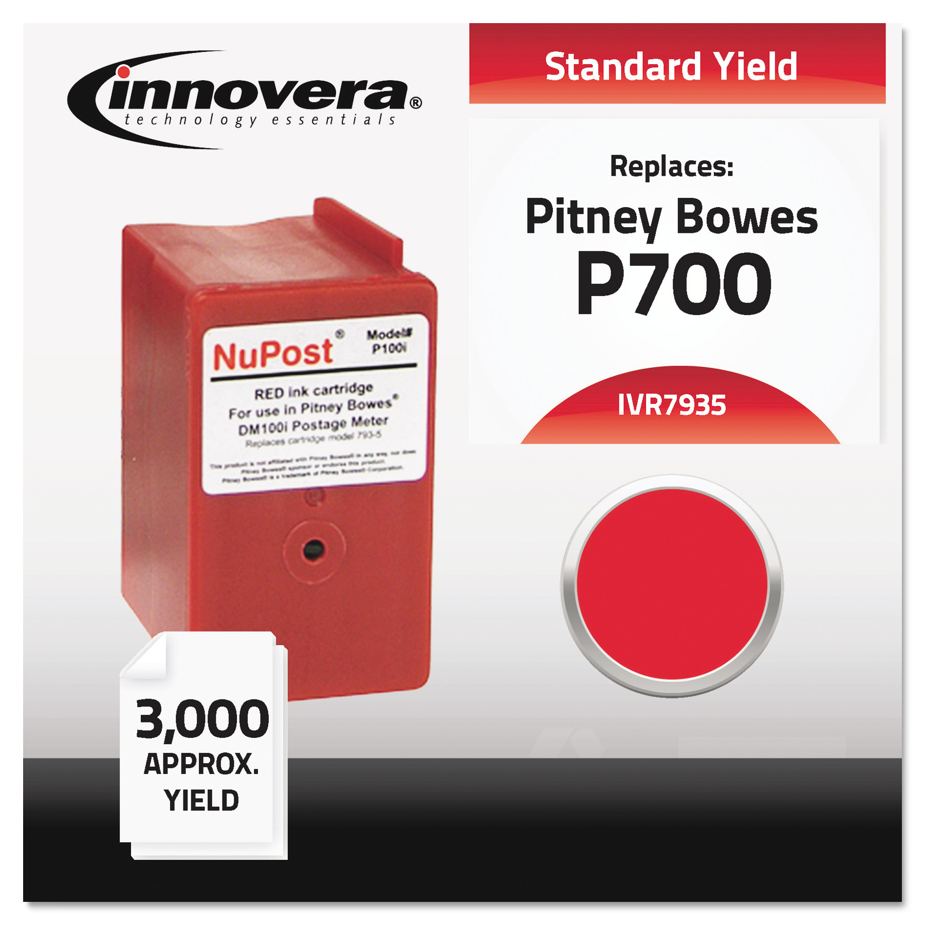 Innovera Compatible 793-5 Postage Meter Ink, Red