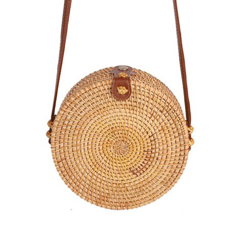 Handwoven Round Crossbody Rattan Bag Shoulder Leather Straps Natural Chic Circle Handbag Handmade Wicker Woven Purse Handbag Wicker Woven Handbag