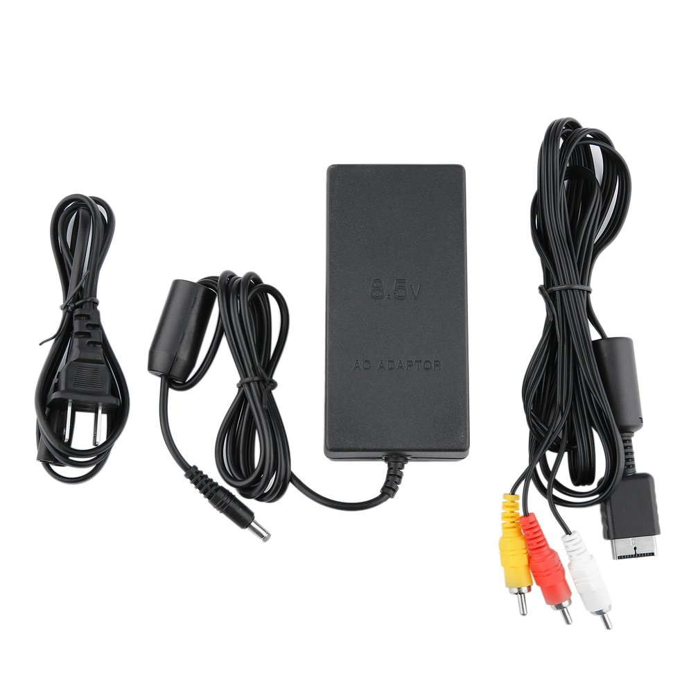 AC Adapter Charger Power Cord Supply For Sony For PS2 And Audio Video AV Cable