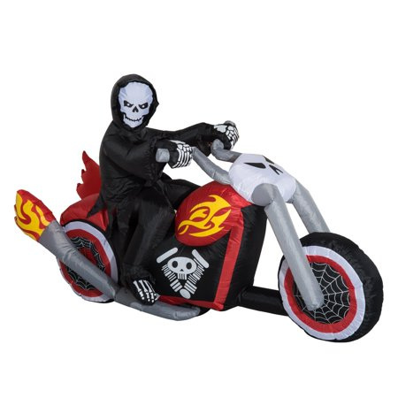 HOMCOM 7.5' Long Outdoor Lighted Airblown Inflatable Halloween Decoration - Grim Reaper Flaming Motorcycle