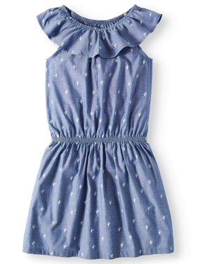 Wonder Nation Casual Ruffle Chambray Dress (Little Girls & Big Girls, Plus)
