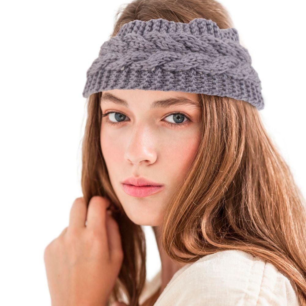 Zodaca Women Ladies Winter Crochet Knit Knitted Warmer Headband Hairband Headwrap  Ear Band - Dark Blue e2dfbd3ec361