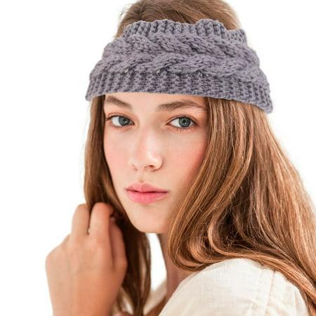 85a96597f44 Zodaca Women Ladies Winter Crochet Knit Knitted Warmer Headband Hairband  Headwrap Ear Band - Black ...
