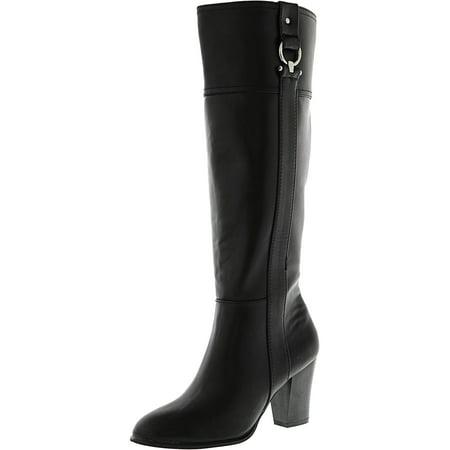 Leather Equestrian Boots - Alfani Women's Courtnee Wide Calf Black Knee-High Leather Equestrian Boot - 5.5M