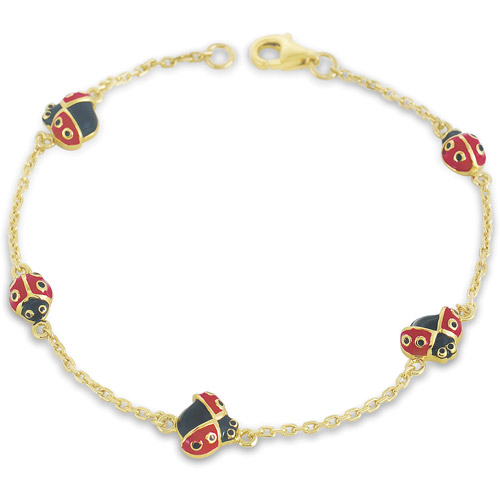 """18kt Gold-Plated Ladybug Bracelet, 7"""""""