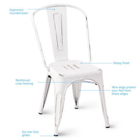 Costway Set of 4 Distressed Style Dining Side Chair Stackable Bistro Cafe Metal White - image 3 de 10