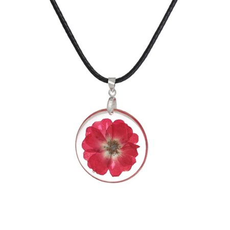 StylesILove Womens Pressed Natural Daisy Flower Resin Pendant Necklace (Fuchsia with Leather Rope)