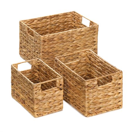 Wicker Baskets For Storage, Stackable Organizer Bins, Made Of Straw (set Of - Wicker Storage Baskets