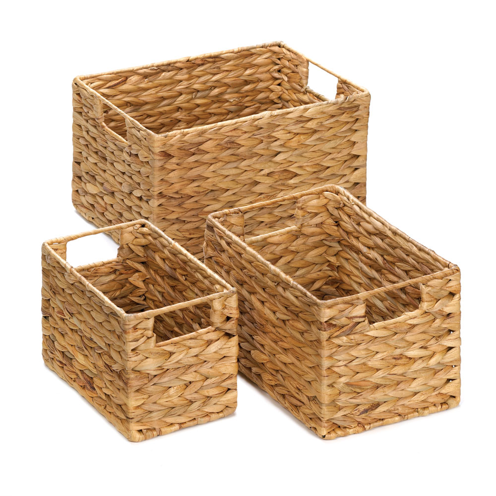 Wicker Baskets For Storage, Stackable Organizer Bins, Made Of Straw (set Of 3)