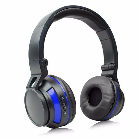 e71783cce8b Stereo Wireless Bluetooth Headset/ Headphones for Apple iPhone X/ 8/ 7 / 6S/  6/ Plus/ SE/ 5S/ 5C/ 5/ iPad Pro/ Mini/ Air/ iPod touch 5th 4th (Blue/  Black)