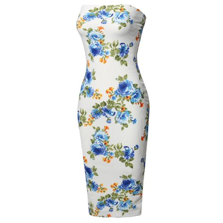 Halter Floral Tube Dress Top (FashionOutfit Women's Super Sexy Comfortable Floral Tube Top Body-Con Midi Dress)