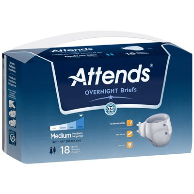 Attends Overnight Extended Wear Breathable Briefs  Medium  32     44    Brnt20   Case Of 36