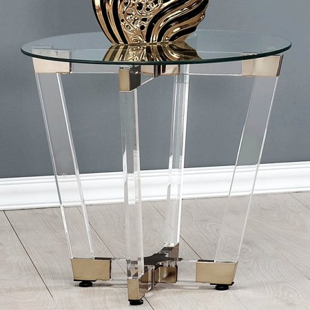 A Line Furniture Modern Glam Design Acrylic Interlocking Base Accent Table with Clear Glass