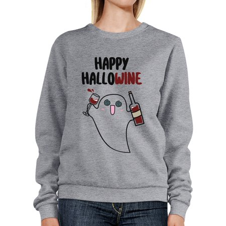 Happy Hallowine Ghost Sweatshirt Funny Halloween Costumes For Moms