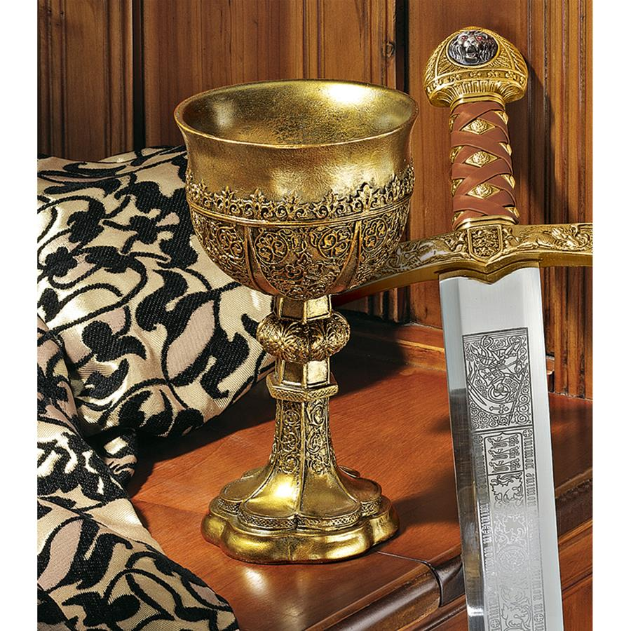 King Arthur's Golden Chalice Gothic Sculpture