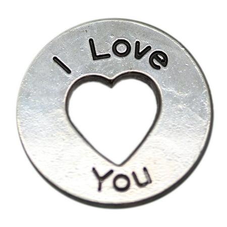 """I Love You"" Heart Cutout Token Charm - By Ganz"