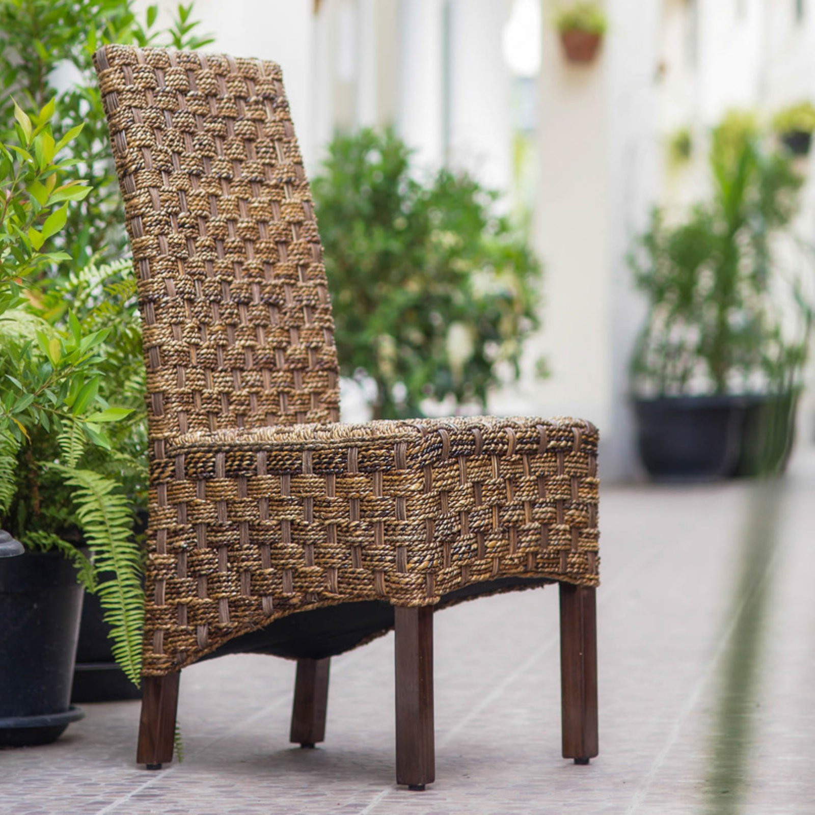 Manila Abaca and Rattan Wicker Basket Weave Dining Chairs with Mahogany Hardwood Frame... by NA