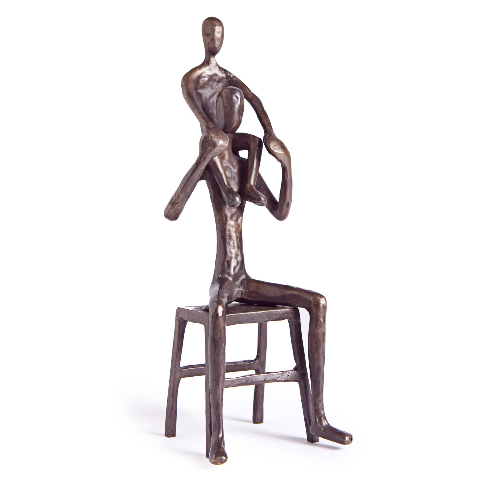 Danya B Father Sitting on Bench with Child on Shoulders Sculpture