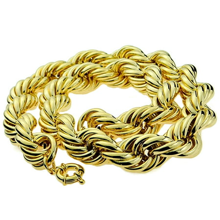 Huge Mens 14k Gold Plated Rope Chain 25MM Wide x 30
