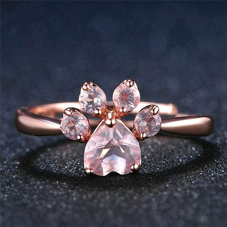 Rose Gold Crystal Zircon Quartz Paw Print Ring Romantic Jewelry Wedding Beauty Gift
