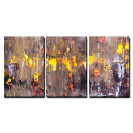 Wall26 3 Piece Canvas Wall Art Brown And Orange Abstract Painting Modern Home Decor Stretched Framed Ready To Hang 16 X24 X3 Panels