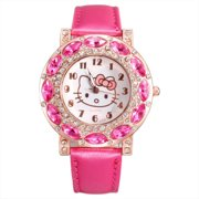Hello Kitty Style Rose Pink Color Watch Marquis Stone on Face, Watch HK-RP-1