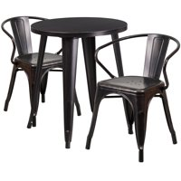 """Flash Furniture 24"""" Round Metal Indoor-Outdoor Table Set with 2 Arm Chairs, Multiple Colors"""