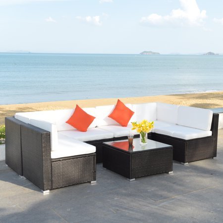 Costway 7PC Furniture Sectional PE Rattan Wicker Patio Rattan Sofa Set Couch with White Cushions ()