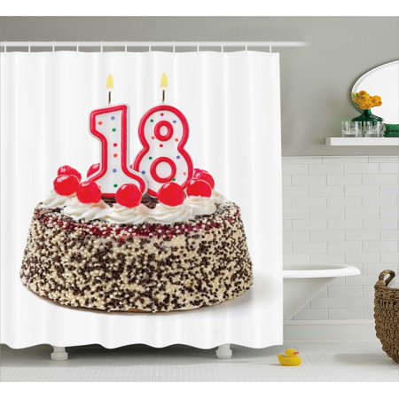 18th Birthday Decoration Shower Curtain Sweet Eighteen Party Cake With Candles And Cherries Sprinkle Photo