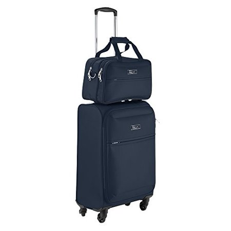 Business Trolley - Copenhagen Business Hand Luggage Set - Trolley Suitcase 55x40x20cm and Stowaway Bag 35x20x15cm (Navy)