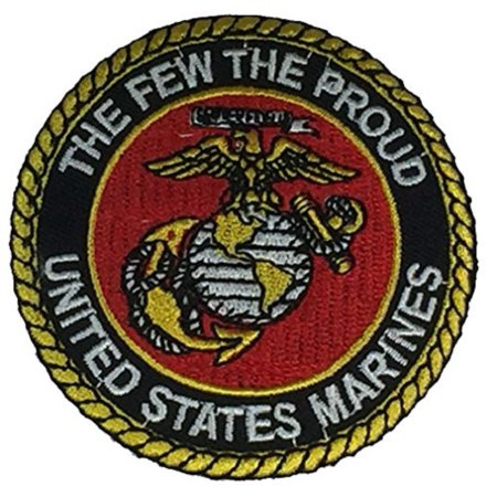 Usmc Globe And Anchor - THE FEW THE PROUD UNITED STATES MARINES USMC with EAGLE, GLOBE AND ANCHOR Round Patch - Vivid Colors - Veteran Owned Business.