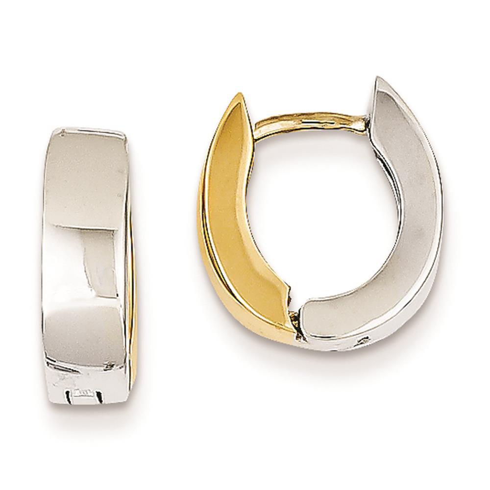 Mens Ladies 14k Two-Tone Gold Polished Solid Hinged Hoop Earrings 8mm x 4.5mm