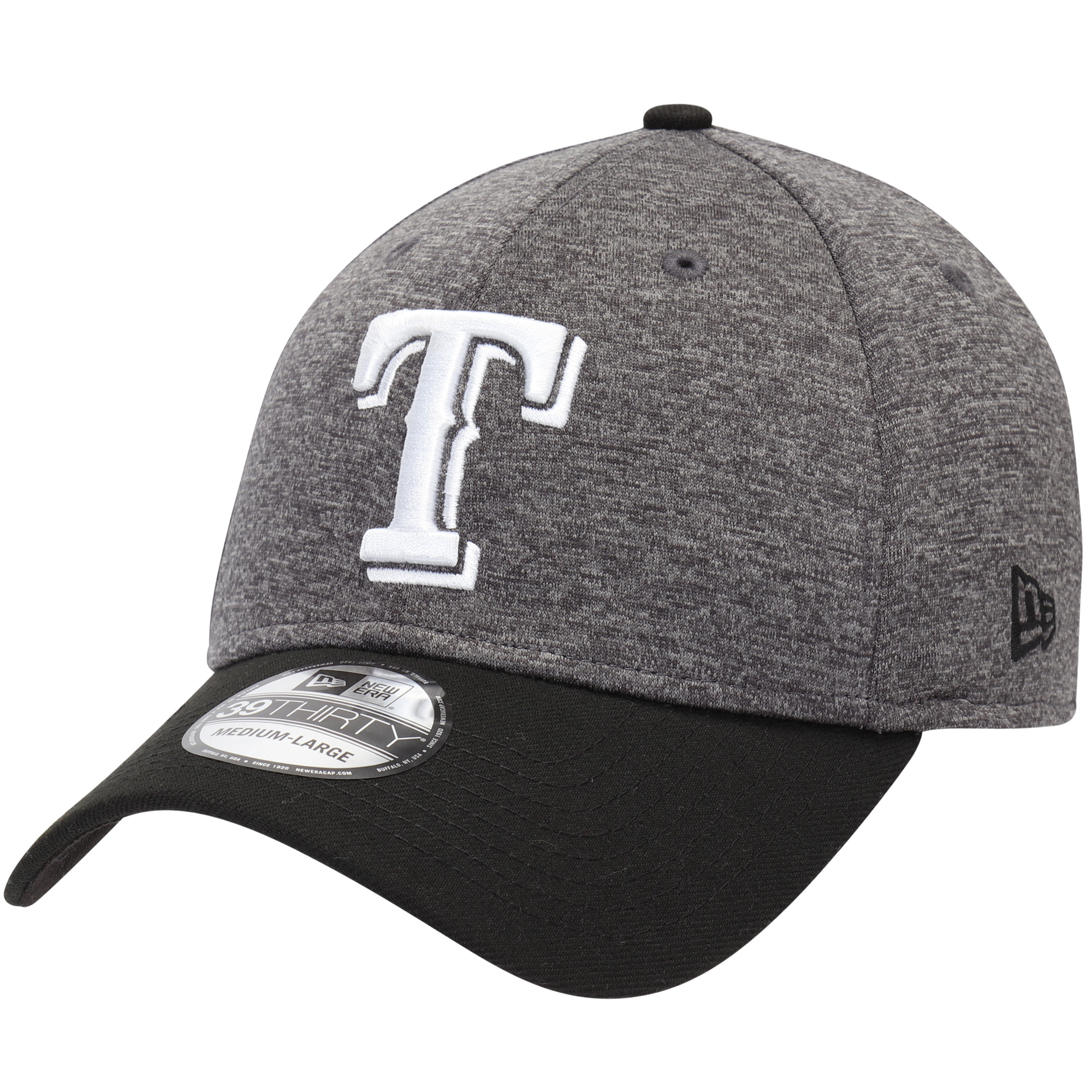 Texas Rangers New Era Shadow Tech 39THIRTY Flex Hat - Heathered Gray/Black