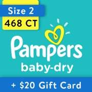 [Save $20] Size 2 Pampers Baby-Dry Diapers, 468 Total Diapers
