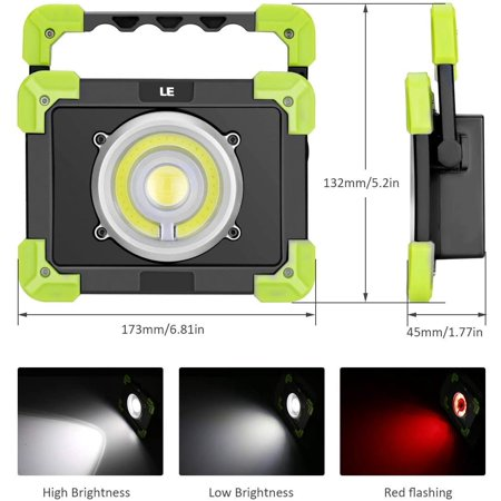 LE Portable LED Work Light, 20W, Rechargeable Outdoor Flood Light, 6000mAh Power Bank for Hiking, Working, Car - image 4 de 5