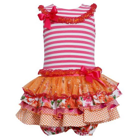 Bonnie Jean Baby Girls Ruffle Tutu Fuchsia Striped Dress 0-3 months (Bonnie Jean Halloween Ghost Tutu Dress)